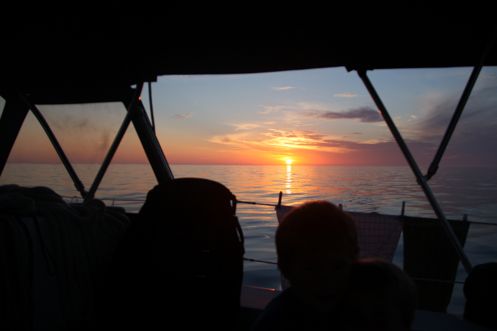 Sun setting on our first night time passage