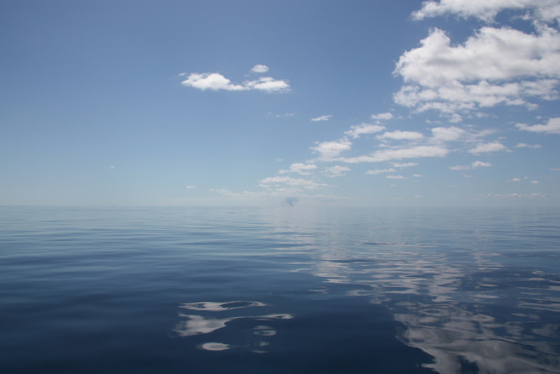 The plume.  Not much sailing today see how flat the water is 20 nautical miles from anything