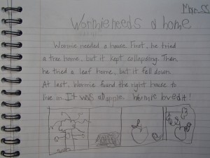 Matthew's story about a worm as dictated by Mom.
