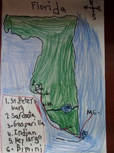 James' map of Florida and our route from Tampa to Bimini