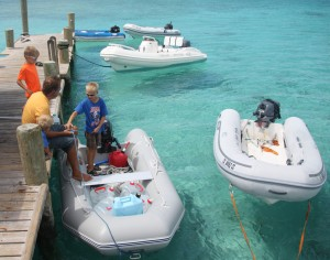 Using the dinghy to haul water at Black Point.