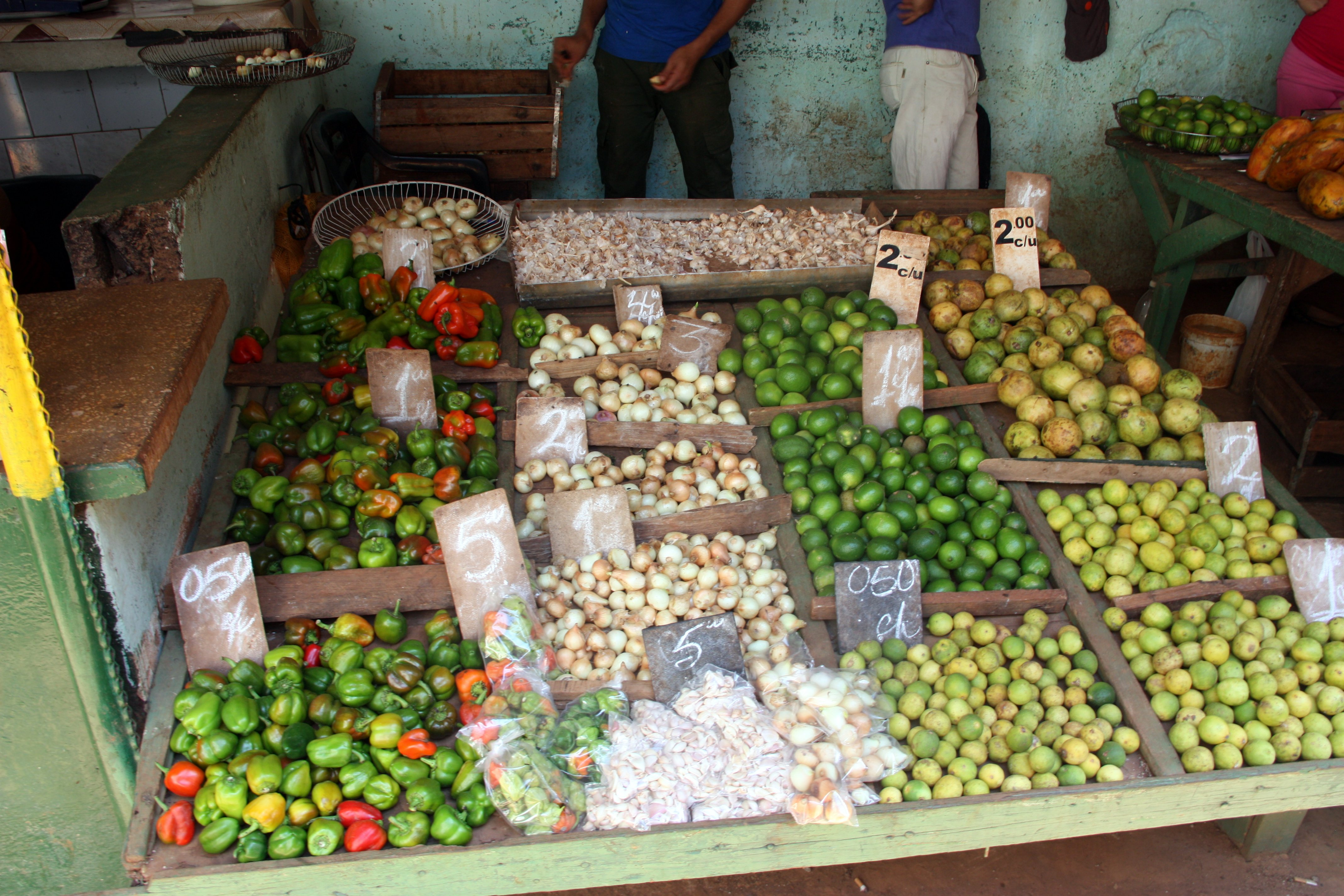 Typical food at the market in Cuba.  Prices are in Pesos which are worth about $0.04 each.