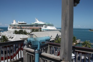 Our view from the top of the Shipwreck Tower.  A cruise ship was pulled into dock.