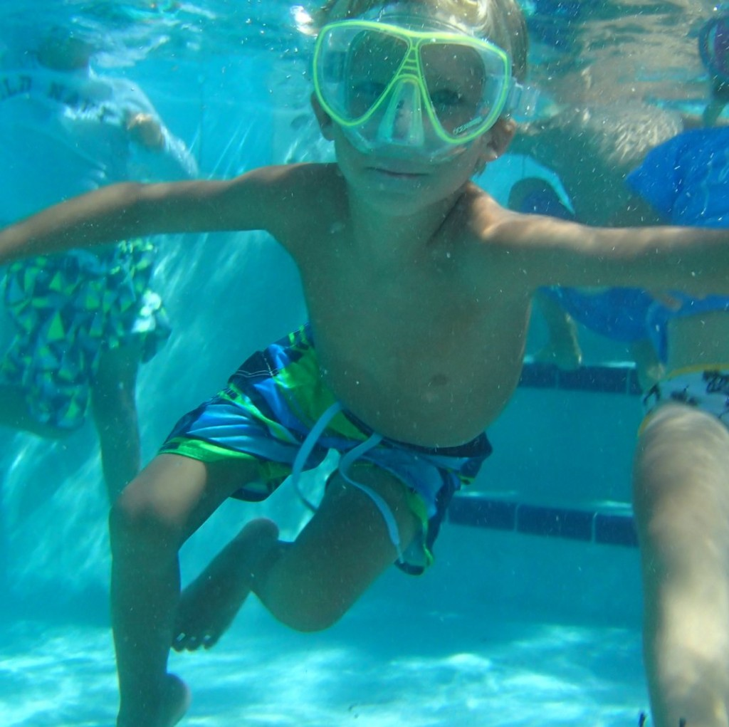 Matthew making a pose for Dad underwater.