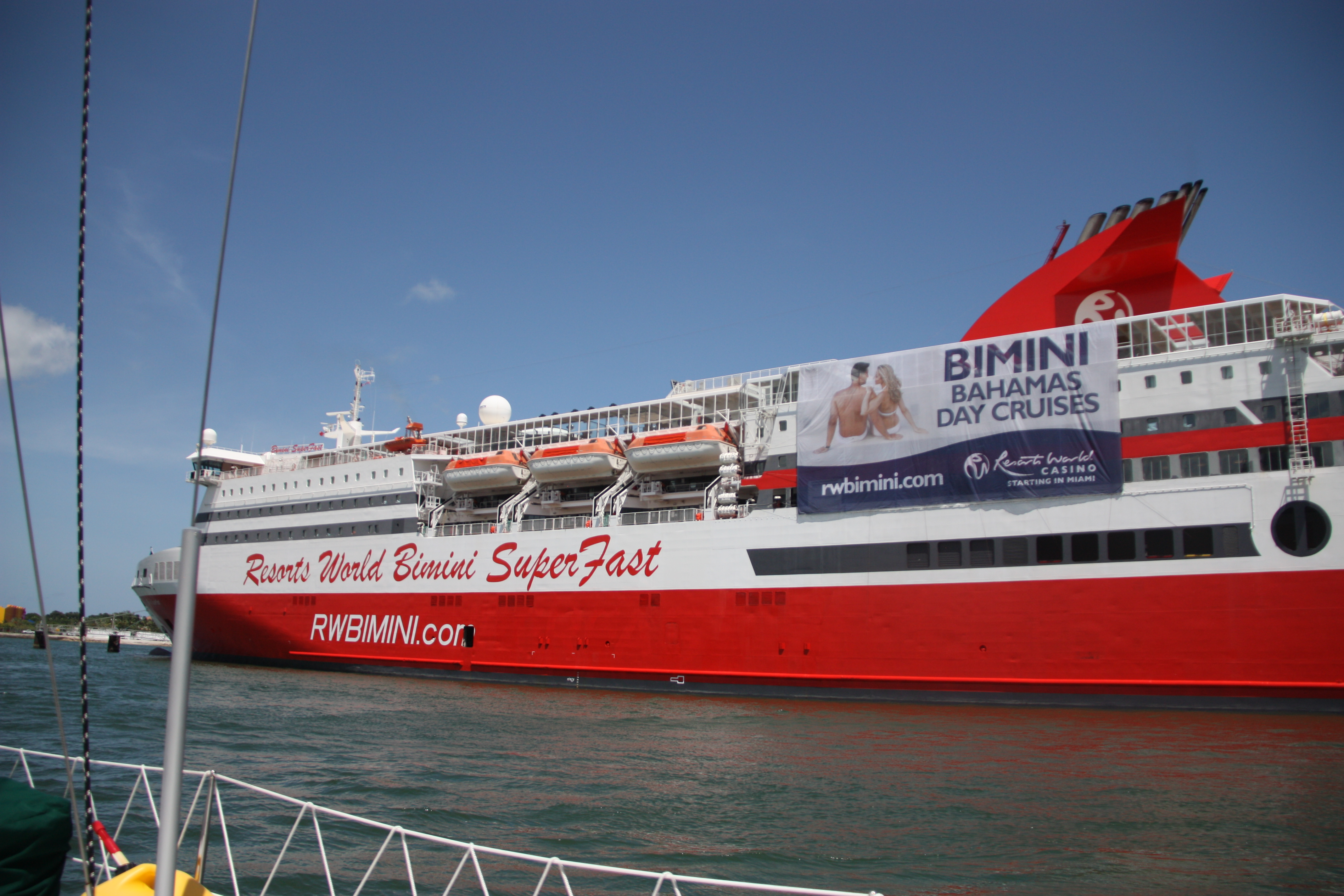 The Bimini Superfast and cruise ship that heads to a casino in Bimini on day trips.