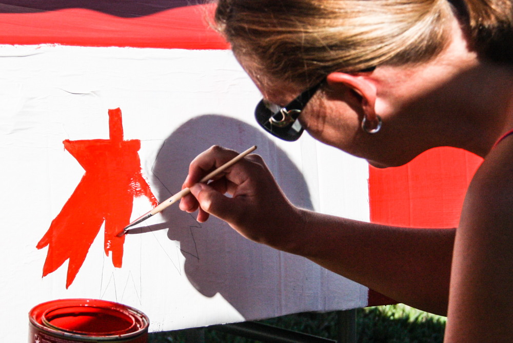 Leah Painting the maple leaf