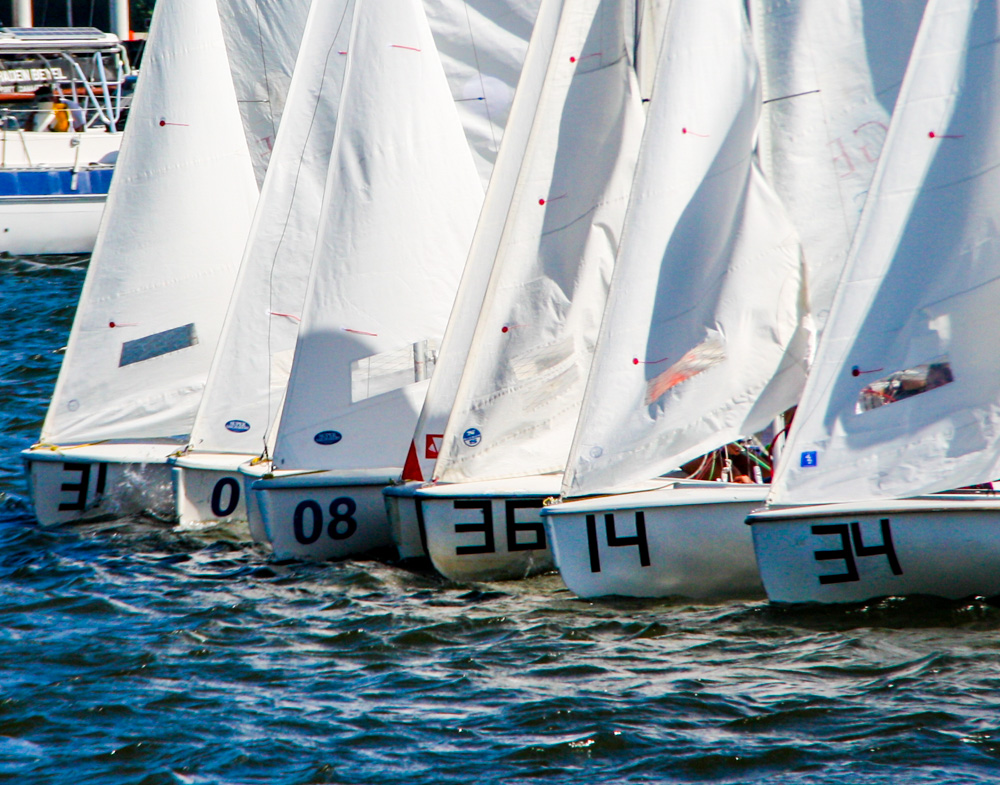 On Saturdays there is regularly a few sailboats doing lessons, but we had a regatta one weekend.  The wind was blowing 20 knots so it was a great day of racing!  Right before a race starts the boats line up along a line waiting for the starting horn.