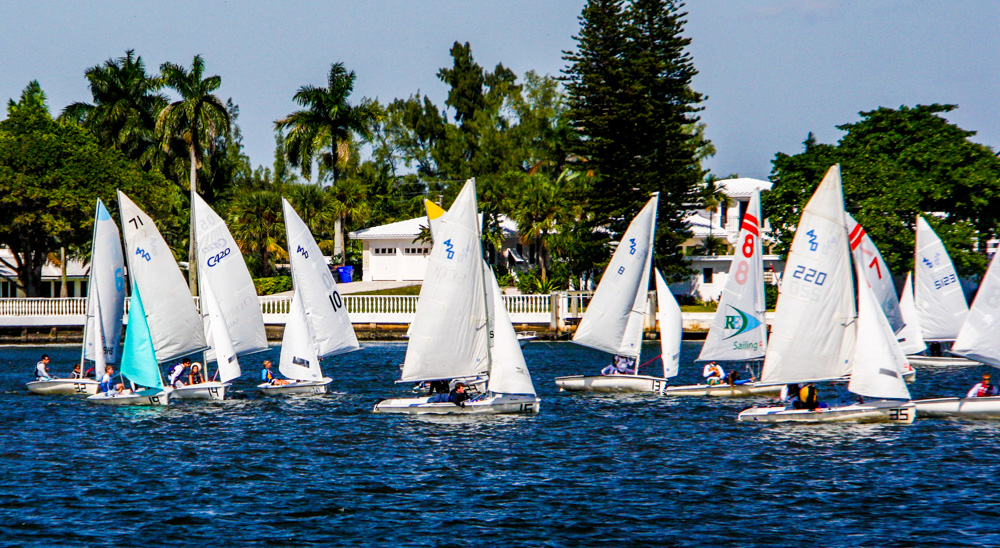 It seems nearly impossible to tell who is winning a dinghy race from shore.