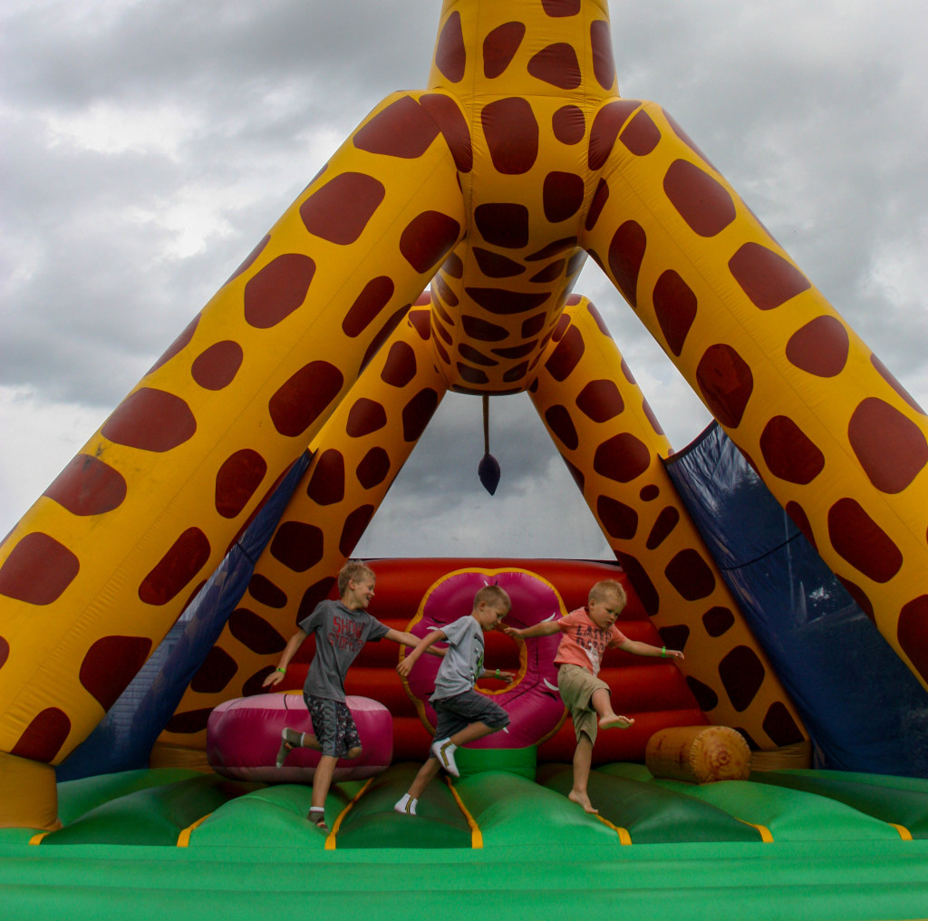 We love a good bouncy castle! This was Sophie the giraffe at one of our campgrounds.