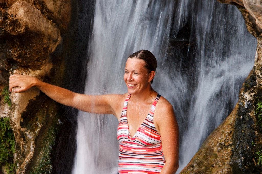 Jennifer enjoying the waterfall at the wadi.