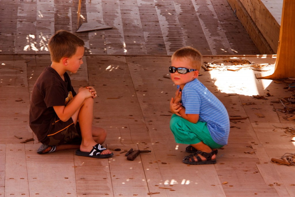 "These boys love their little sticks! Eli says, ""But I can build something with it, Dad!"""