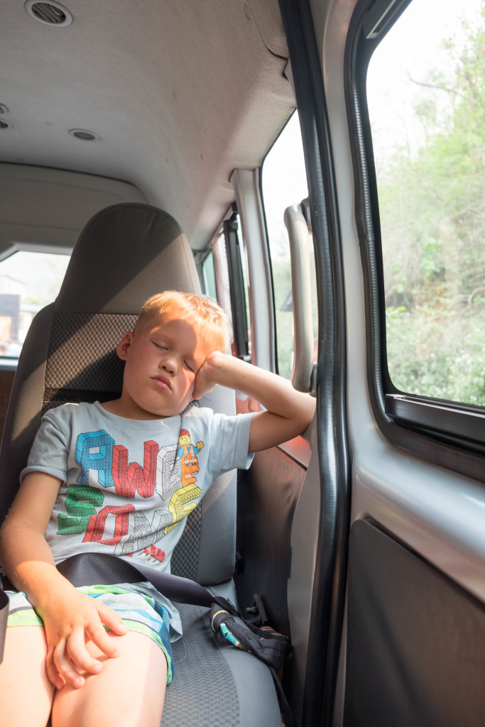 All pooped out. We spent a lot of time in the van.