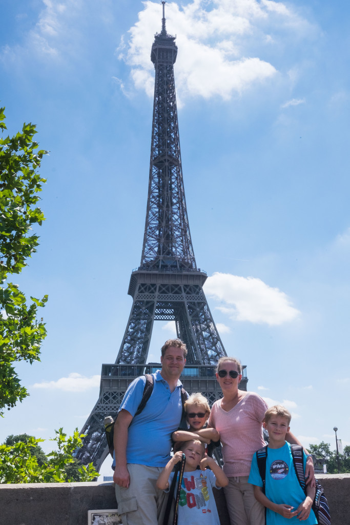 Third trip to Paris and finally a good picture of the family with the Tower.
