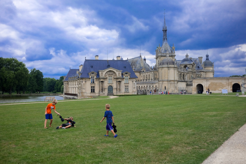 After walking through the Chateau including complaining about how far it is, letting run around and play tag... kids.